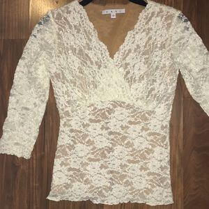 Cabi lace top shirt Blouse small white
